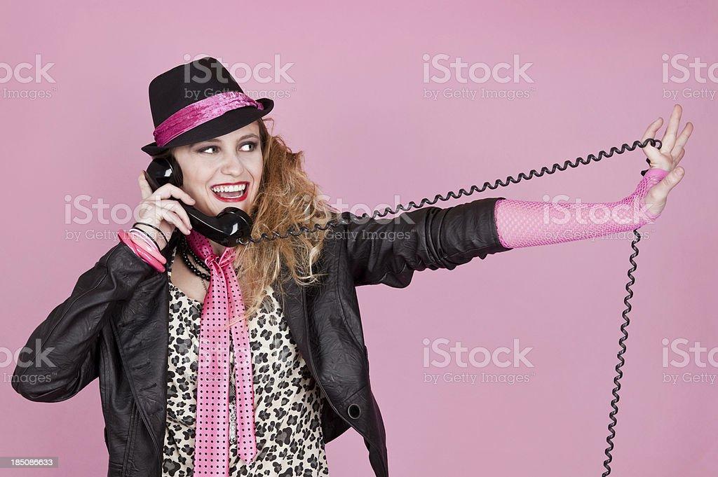 80's Girl on Telephone stock photo