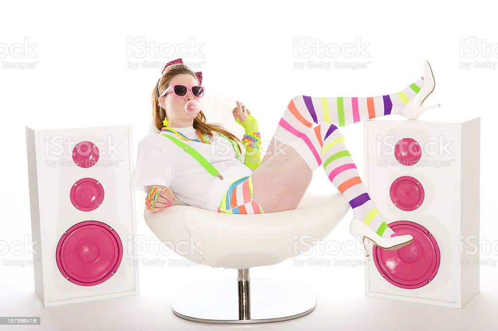 1980's Girl Sitting blowing bubles royalty-free stock photo