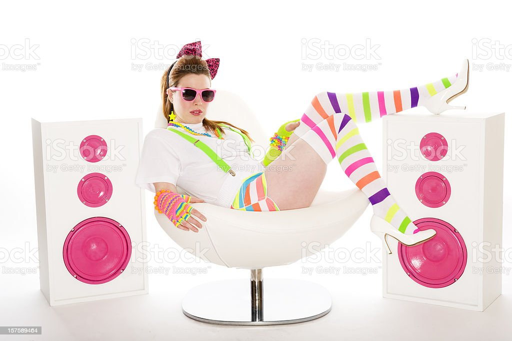 1980's Girl Sitting down royalty-free stock photo