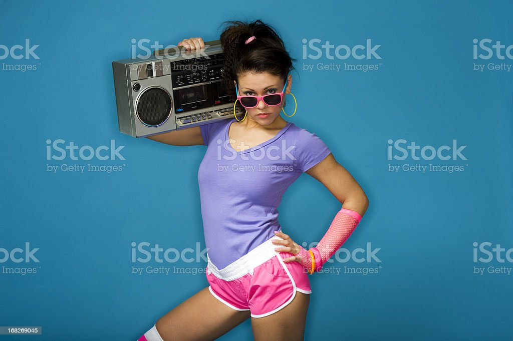 1980's girl with boom box stock photo