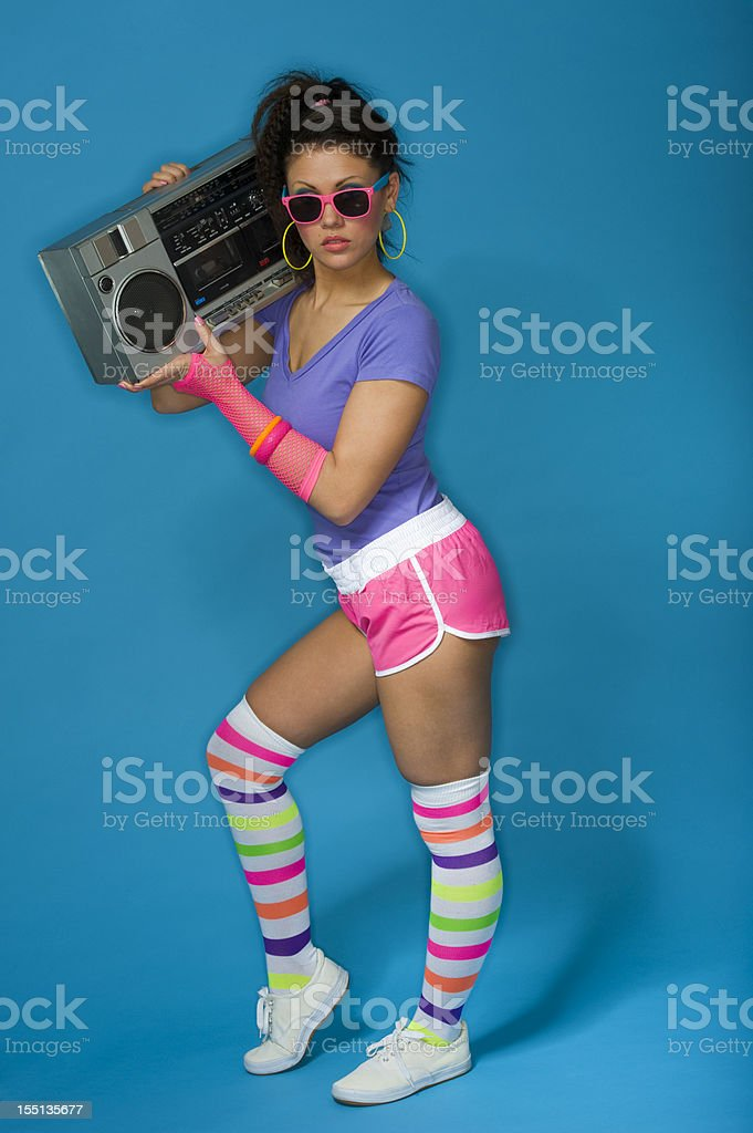 1980's girl with ghetto blaster stock photo