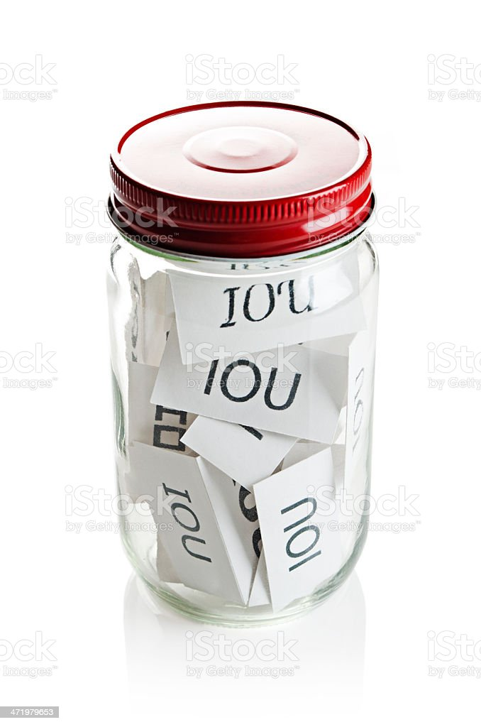 IOU's in a jar stock photo