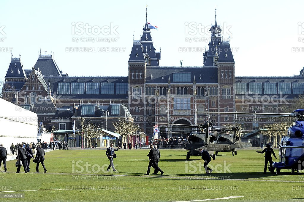 VIP's leaving a helicopter as president Obama vists the Rijksmuseum stock photo