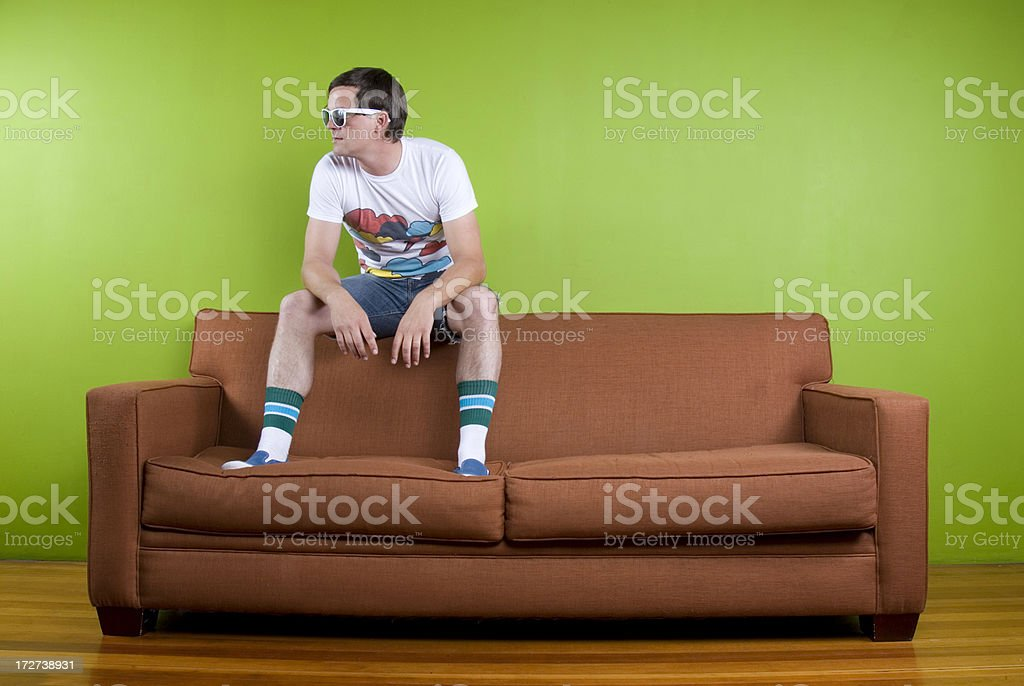 80's Man on Couch royalty-free stock photo