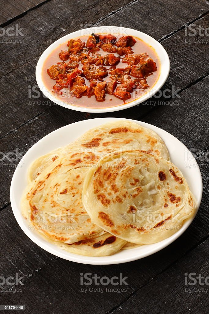 s Parathas,ssrved with mutton roast curry, stock photo