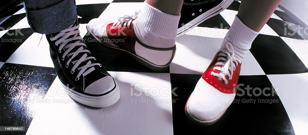 50's sock hop feet stock photo