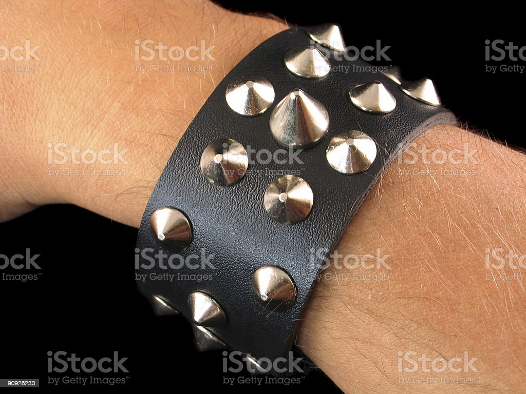 80's Spiked Studded Wristband royalty-free stock photo