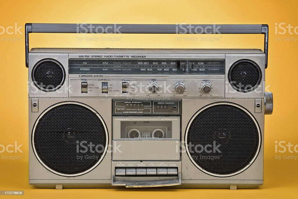 80's Stereo Vintage on orange background stock photo