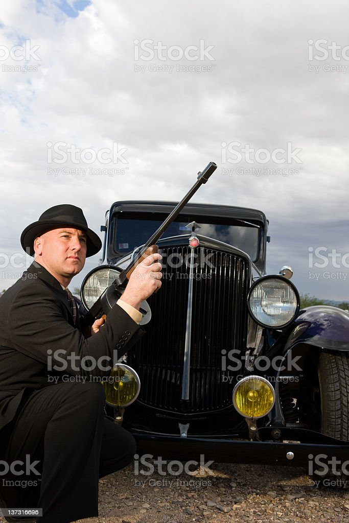 1920's Style Car With Mobster royalty-free stock photo