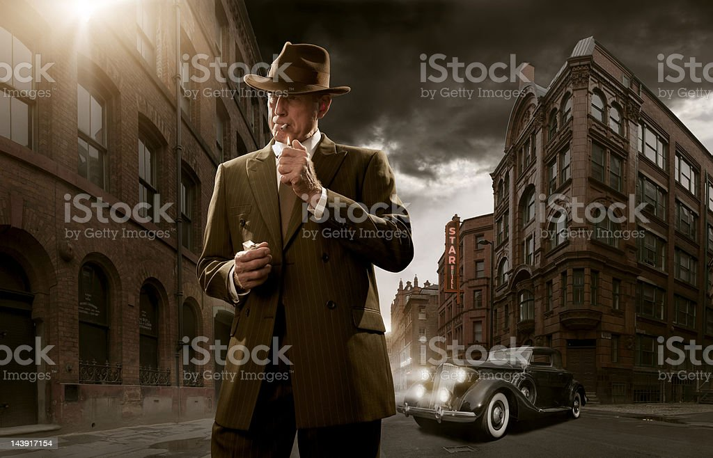 1940's Stylised Film Noir Gangster royalty-free stock photo