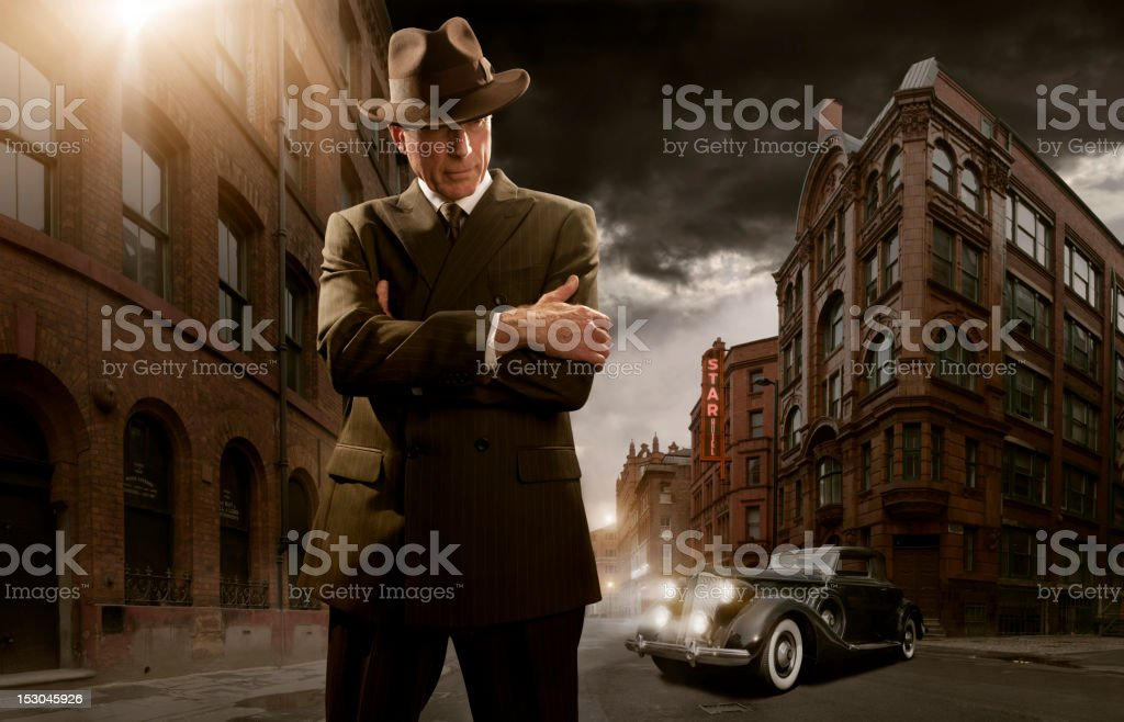 1940's Stylised Film Noir Gangster stock photo