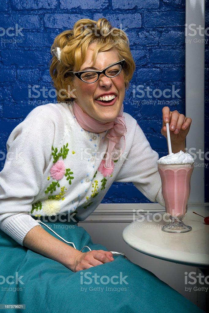 50's teenage girl laughing stock photo