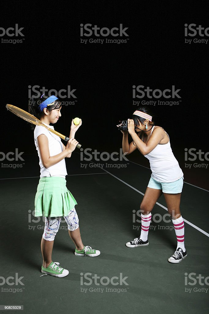 80's Tennis Girls royalty-free stock photo