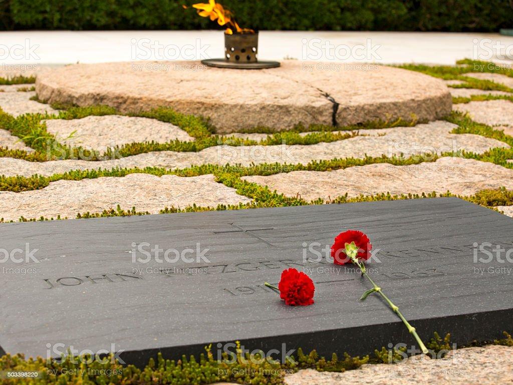 JFK's tombstone stock photo