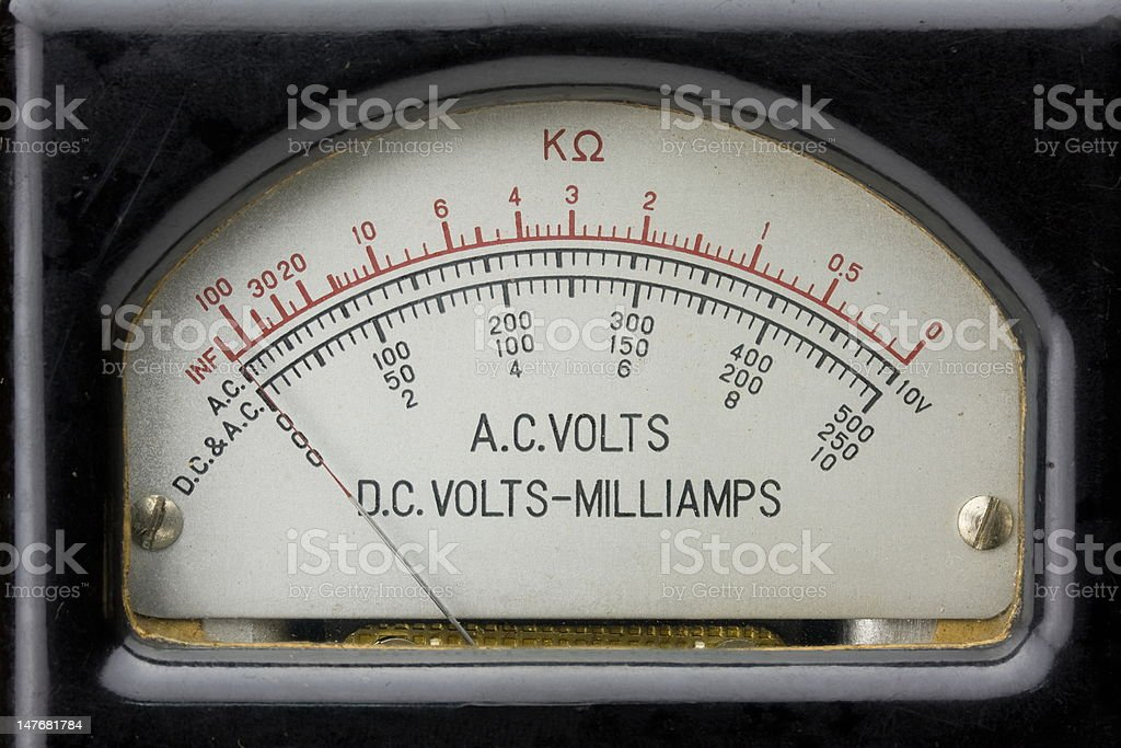 1940's vintage analog electric multimeter. stock photo