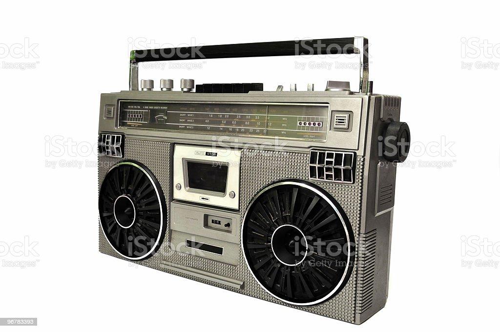 80's vintage radio, isolated on white royalty-free stock photo