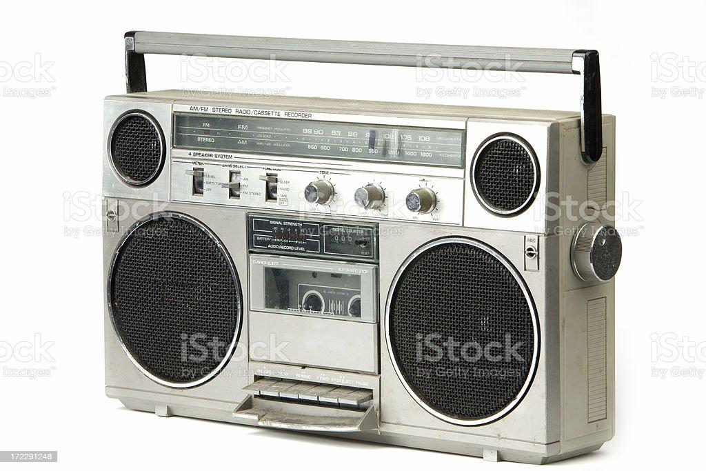 80's vintage radio (3/4 view) stock photo