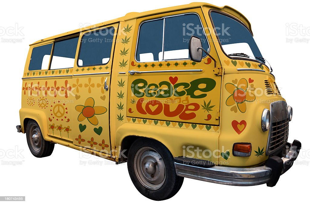 1960's yellow hippie van with 'peace love' written on side stock photo