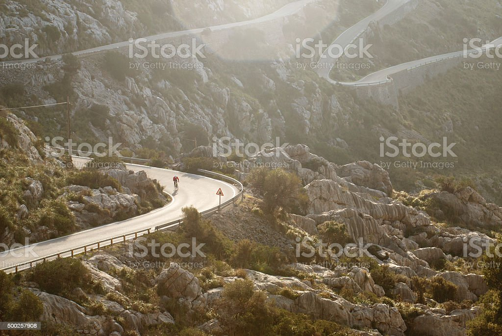 Sa Calobra cyclist stock photo