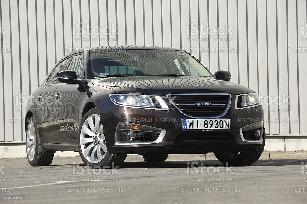 Saab 9-5 at the test drive stock photo