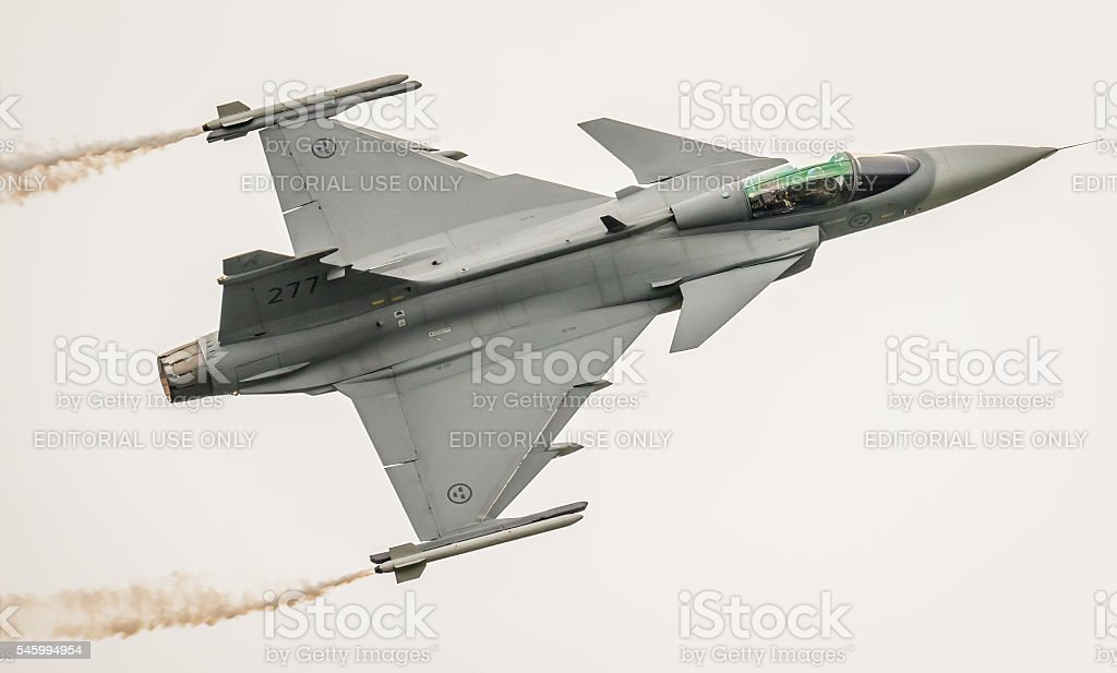Saab Gripen fighter aircraft, Sweden stock photo