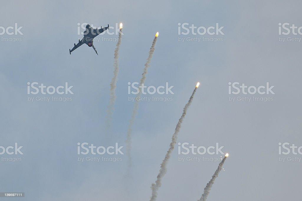 Saab JAS 39 Gripen Droping Flares stock photo