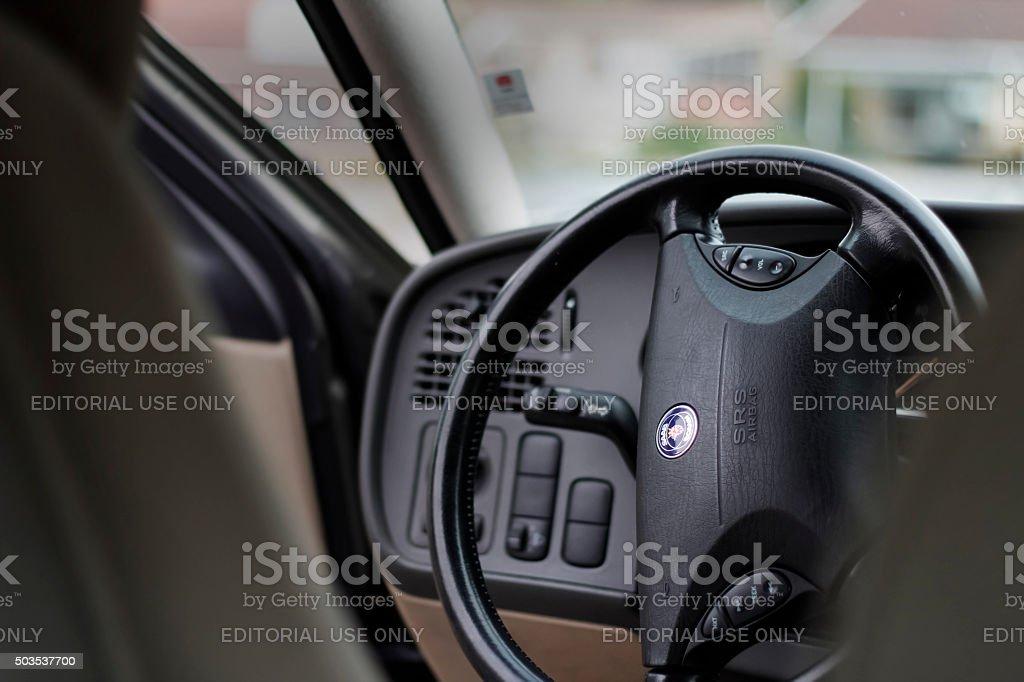 Saab steering wheel stock photo
