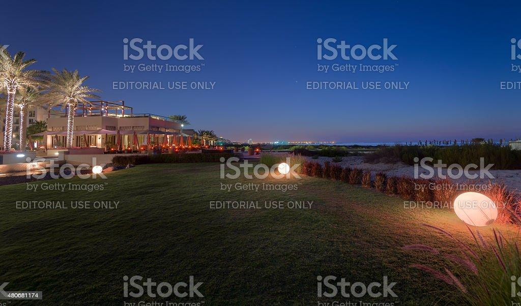 Saadiyat Beach club in Saadiyat Island, Abu Dhabi stock photo