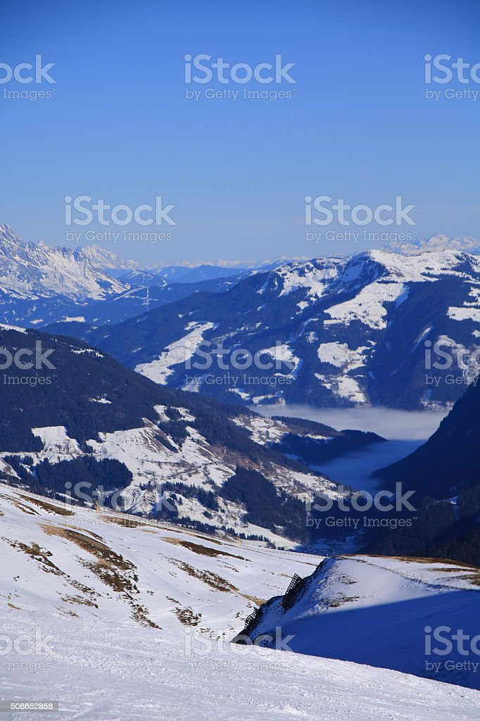Saalbach, Austria at winter time above the clouds stock photo