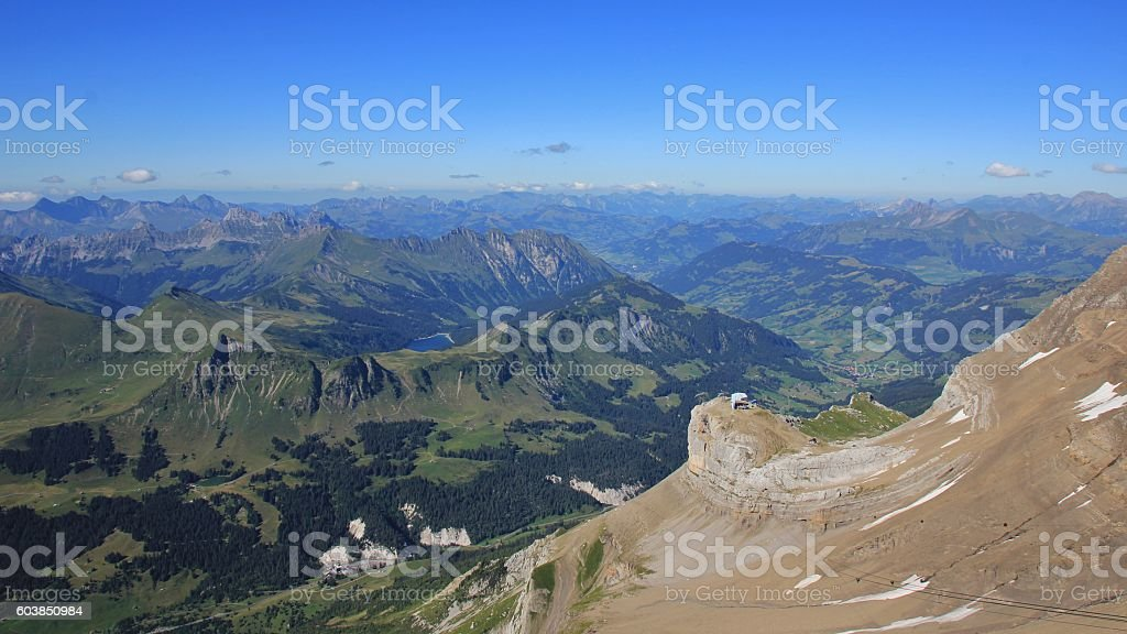 Saanenland in Summer, view from Scex Rouge stock photo