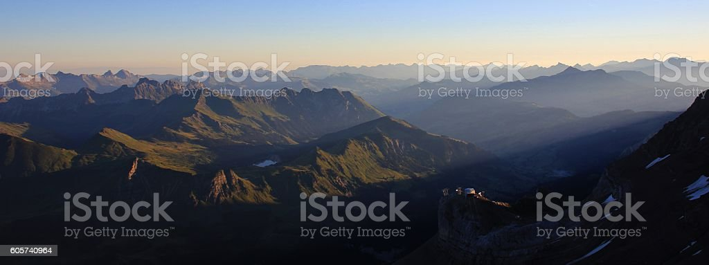 Saanenland valley at sunrise stock photo