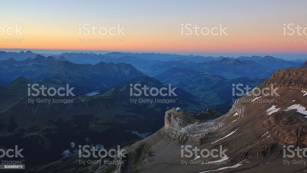 Saanenland valley just before sunrise stock photo