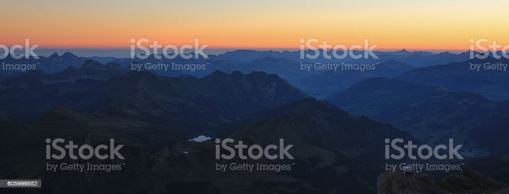 Saanenland valley on a summer morning stock photo