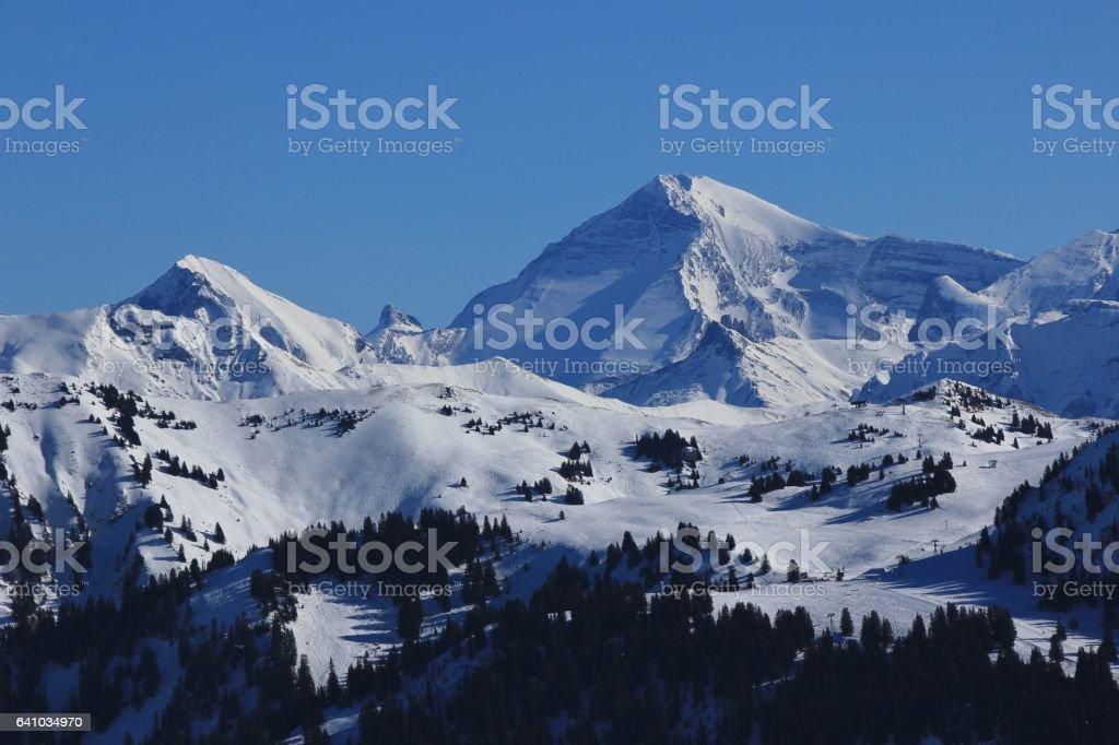 Saanersloch ski slopes and mount Wildstrubel stock photo