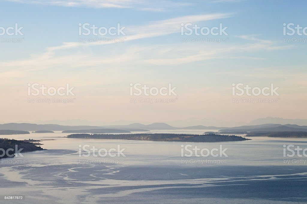 Saanich Islands at Dusk stock photo