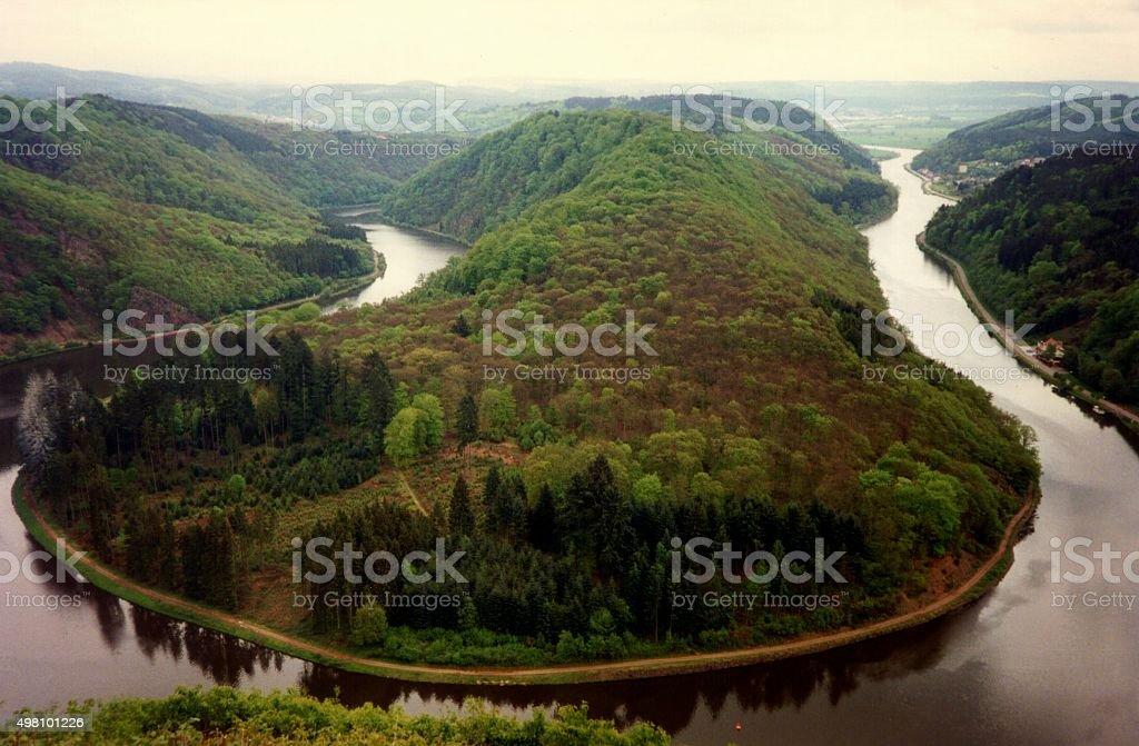 Saar river Loop, Saarland, Germany stock photo