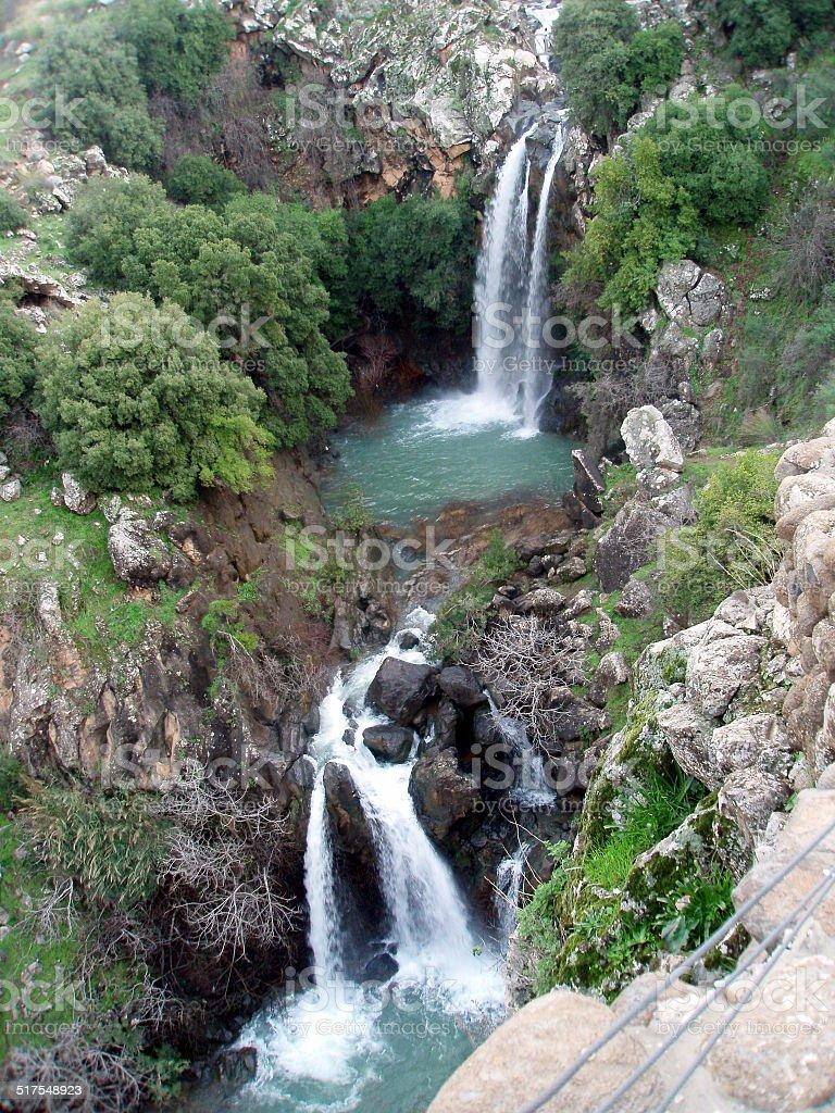 Saar waterfall, Golan Hights, Israel stock photo