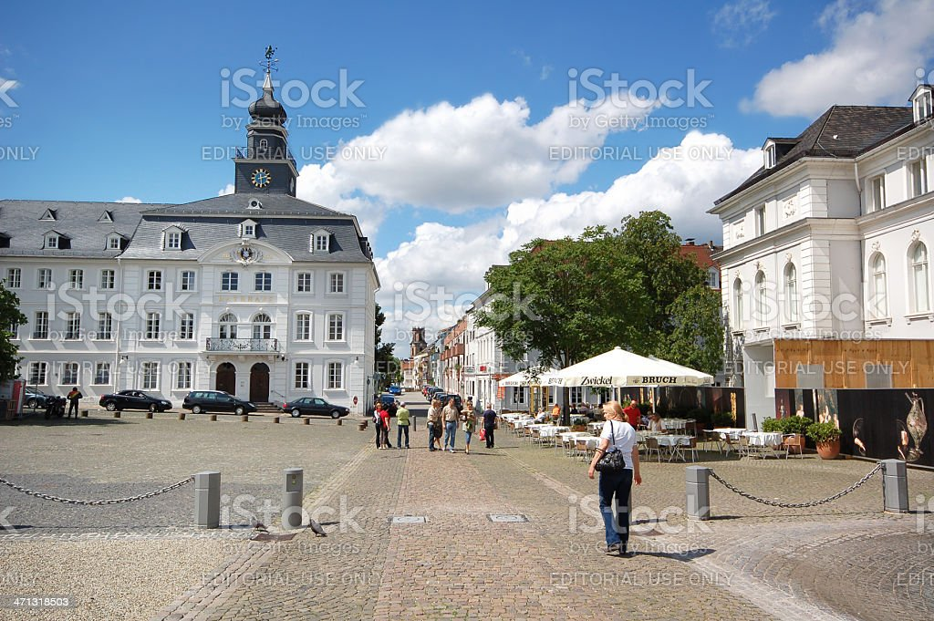 Saarbrücken with old town hall (Germany) and restaurants stock photo