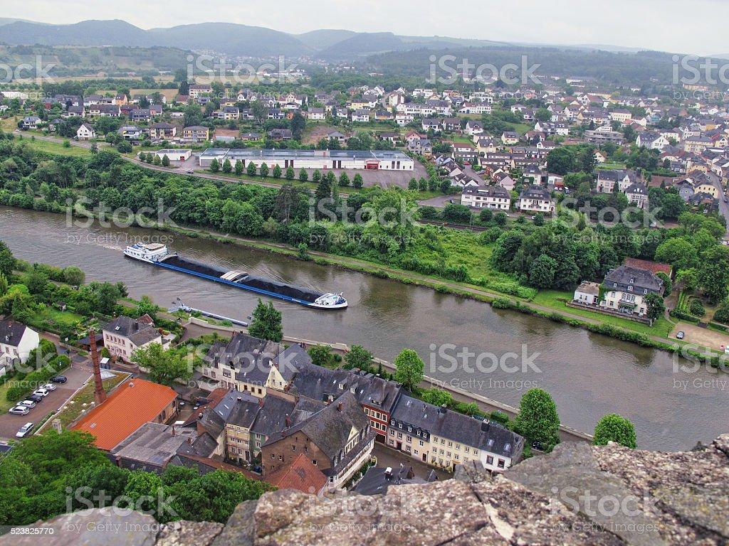 Saarburg at Saar river with barge stock photo
