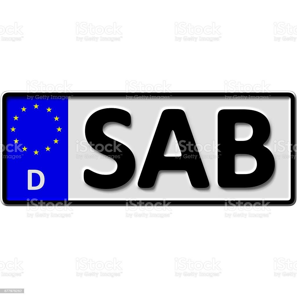 Saarburg license plate number stock photo