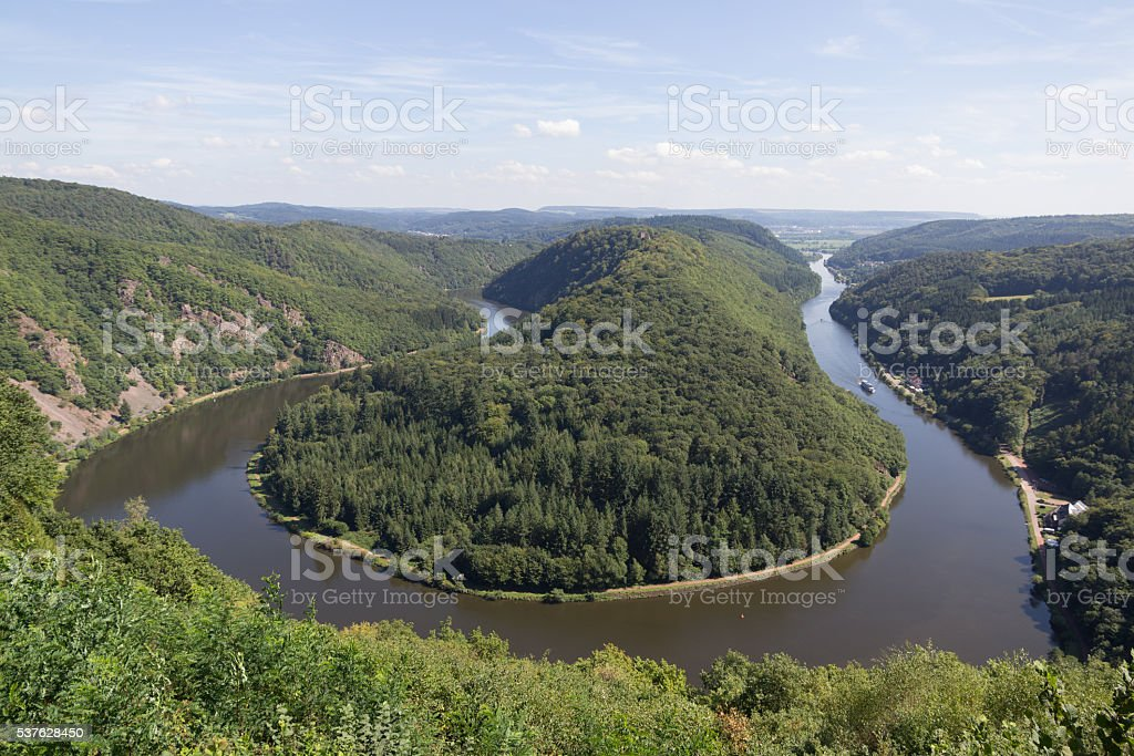 Saarschleife - The Saar river curving near Mettlach, Germany. stock photo