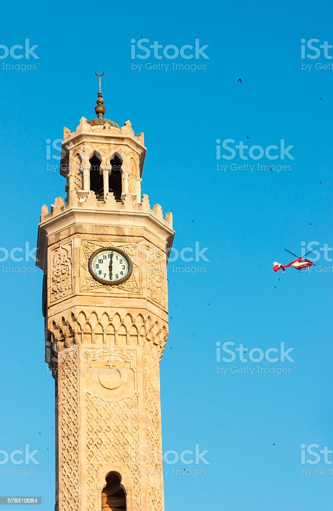 Saat Kulesi (Clock Tower) and helicopter stock photo
