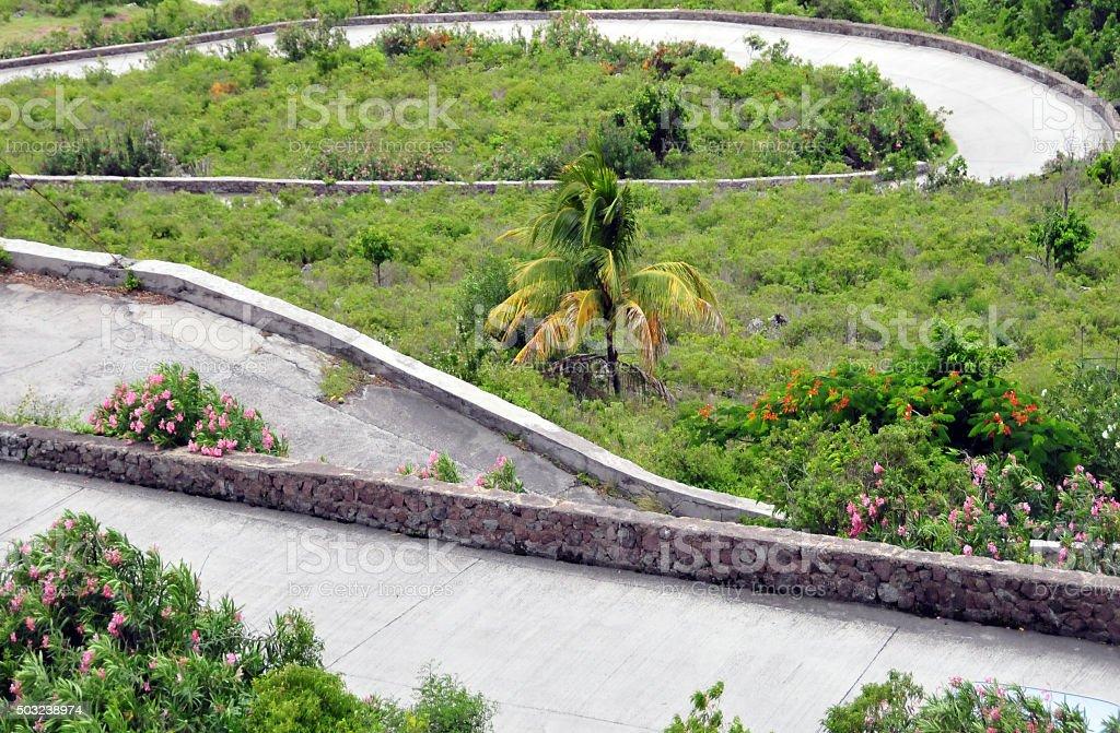 Saba island: switchbacks stock photo