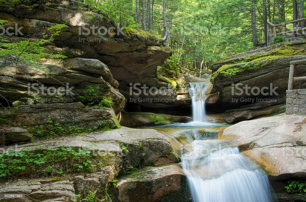 Sabbaday Falls in White Mountain National Forest, NH stock photo