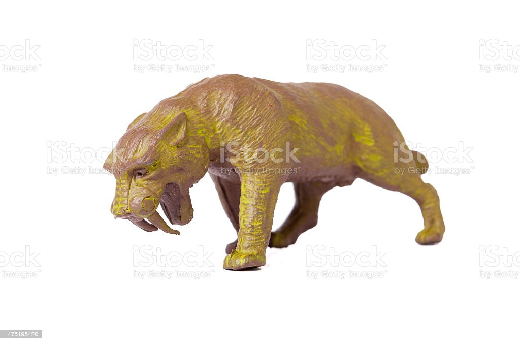 Saber Toothed Tiger Toy stock photo