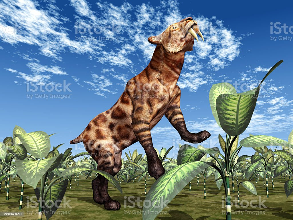 Saber-Toothed Cat Smilodon vector art illustration