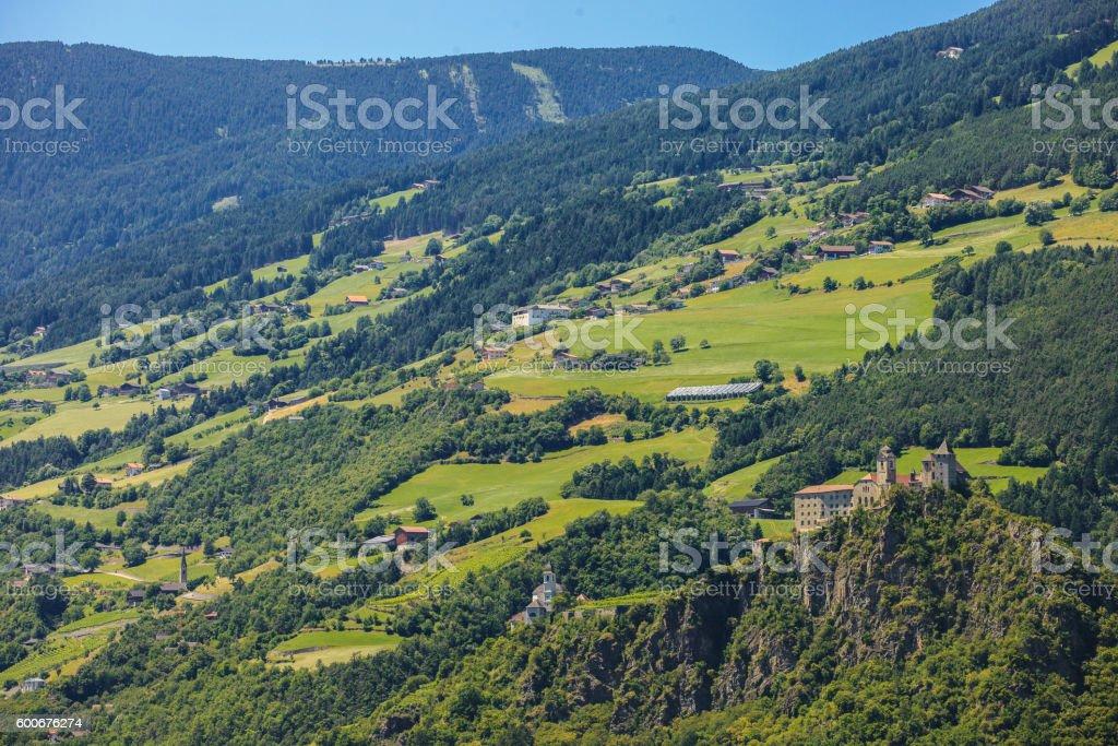 Sabiona Castle in Chiusa stock photo
