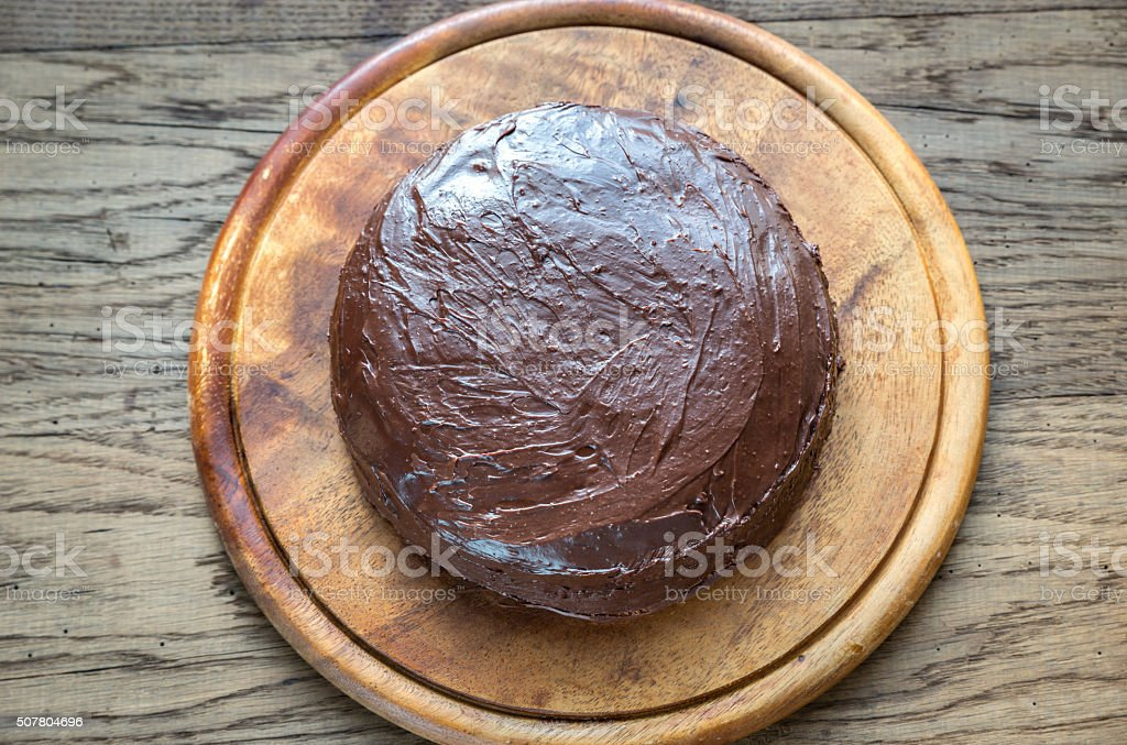 Sacher torte on the wooden board stock photo