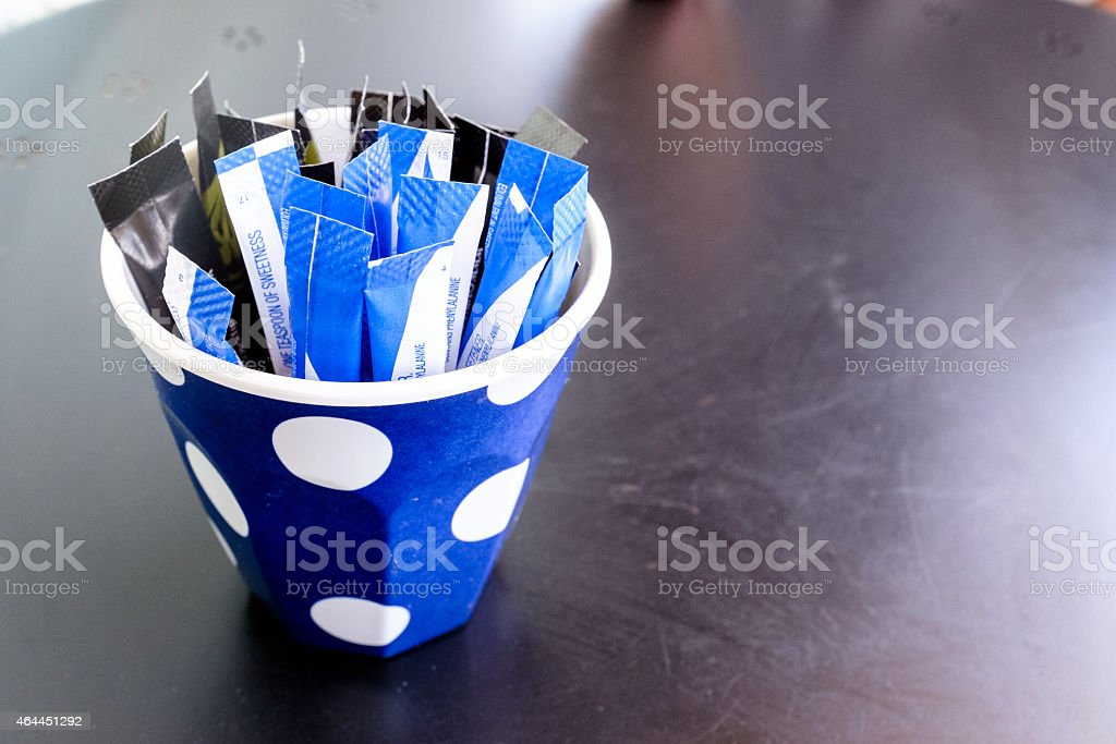 Sachets of Artificial Sweetener stock photo