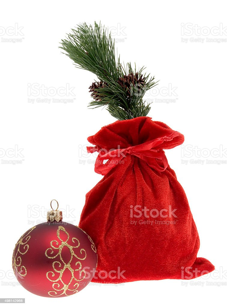 sack and ornament stock photo